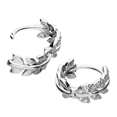 Silver Leaf Design Cubic Zirconia Huggie Hoop Earrings
