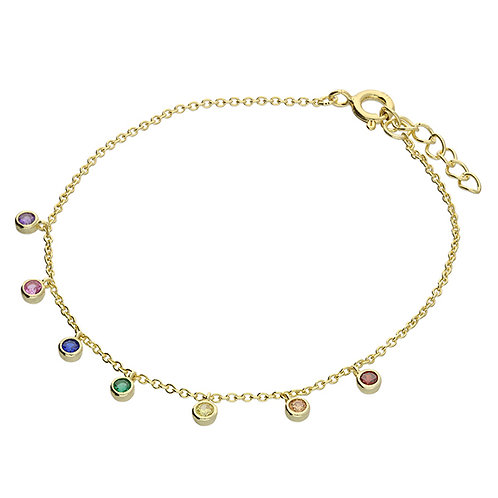 Silver Bracelet  yellow gold-plated rainbow cz