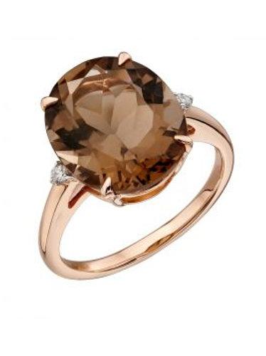 9ct Rose Gold Smoky Quartz & Diamond Ring