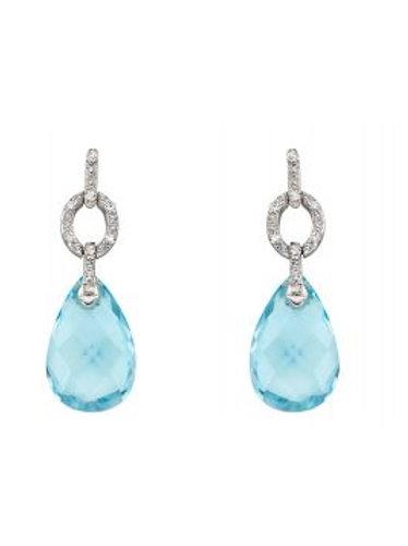 9ct White Gold Blue Topaz & Diamond Drop Earrings