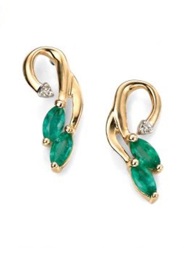 9ct Yellow Gold Marquis Emerald & Diamond Earrings