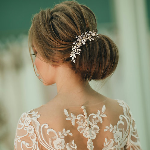 Bridal Hair Comb 'Athena Bejewelled Pearl'