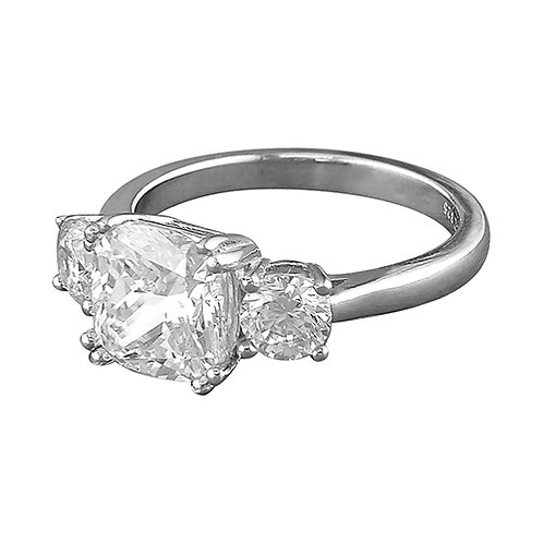 Silver Trilogy Cushion Cut Cubic Zirconia Ring