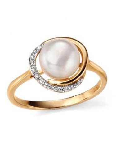 9ct Yellow Gold Pearl & Diamond Ring