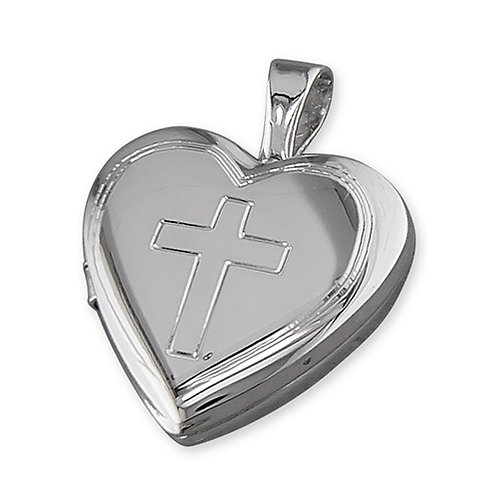 Silver Heart Cross Engraved Locket