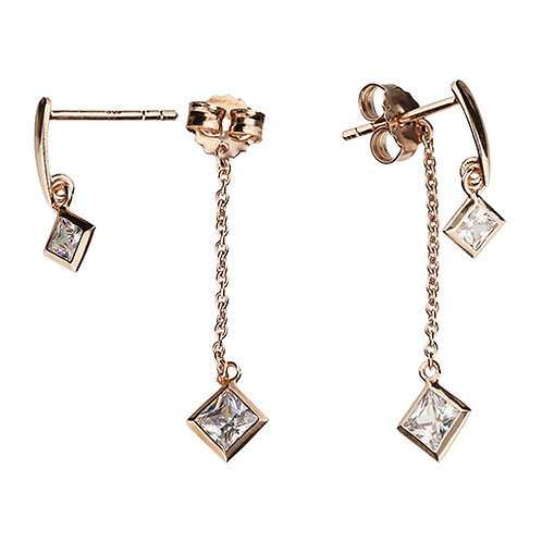 Rose Gold Princess Square CZ Drop Earrings