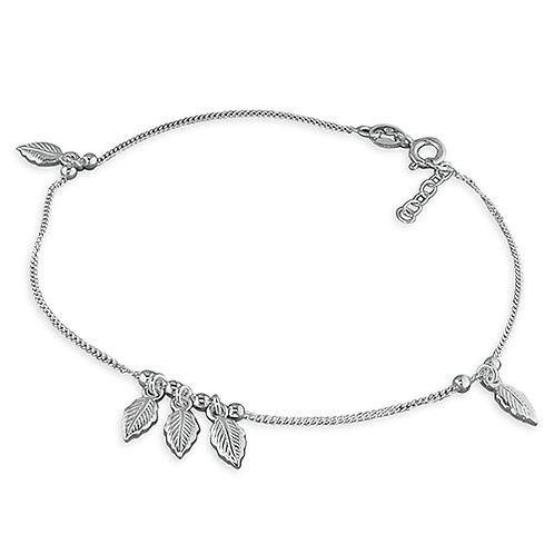 Silver Leaf Charm Anklet