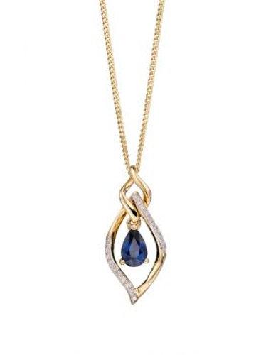 9ct Yellow Gold Sapphire & Diamonds Necklace