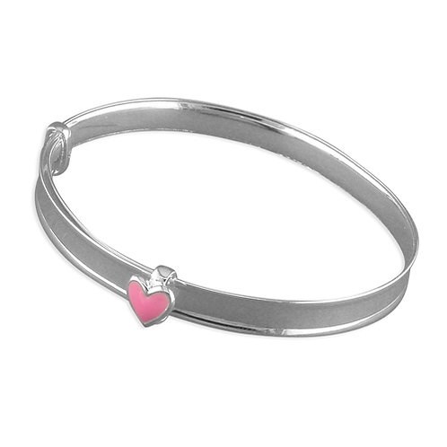 Childs / Baby Silver Expanding Pink Heart Bangle