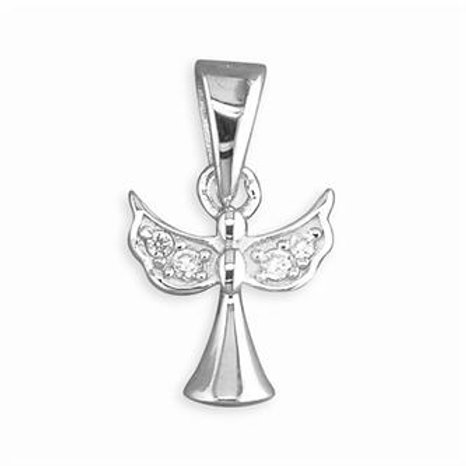 Childs Silver Angel CZ Necklace