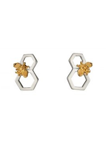 Silver & Gold Plated HoneyComb Stud Earrings