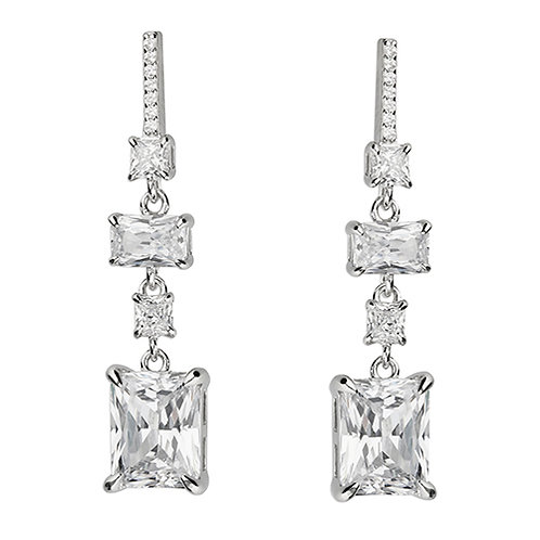 Silver Triple Emerald Cut CZ Drop Earrings