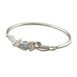 Silver Oval Blue Topaz Bangle