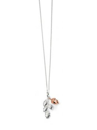 Silver & Rose Gold Acorn Pendant