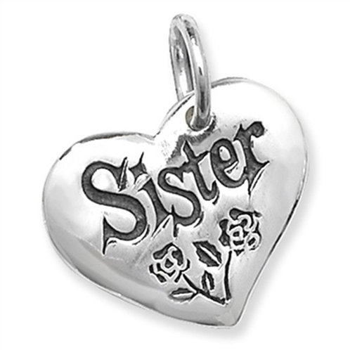 Sterling Silver Heart 'Sister' Charm Pendant