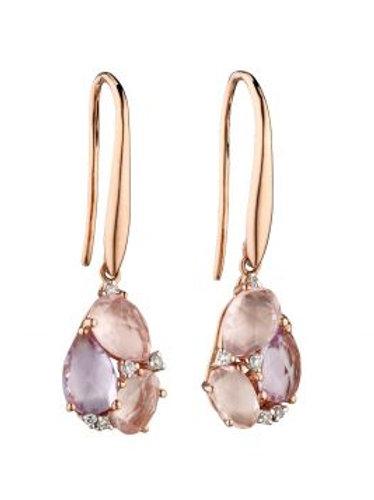 9ct Rose Gold Diamond Rose Quartz & Rose de France Amethyst Drop Earrings