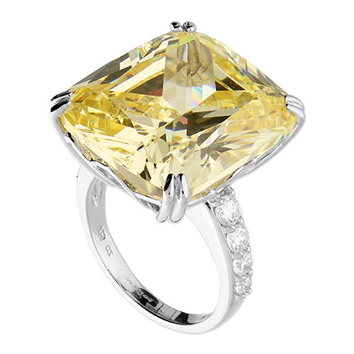 Canary Yellow CZ Cocktail Dress Ring
