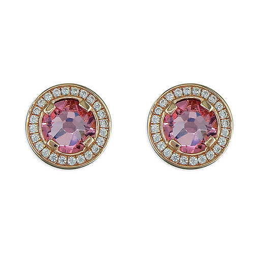 Rose gold-plated pink crystal and white cubic zirconia halo stud