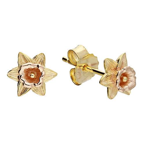 March Birthday Daffodil Flower Stud Earrings