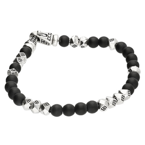 Men's Black Onyx & Silver Bead Bracelet