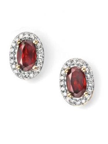 9ct Yellow Gold Garnet & Diamond Stud Earrings