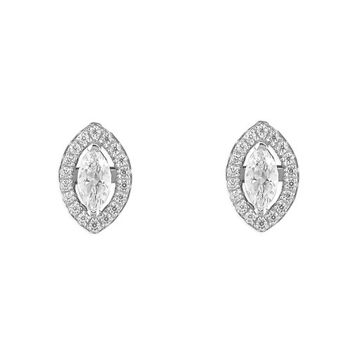 Silver Marquis CZ Halo Stud Earrings
