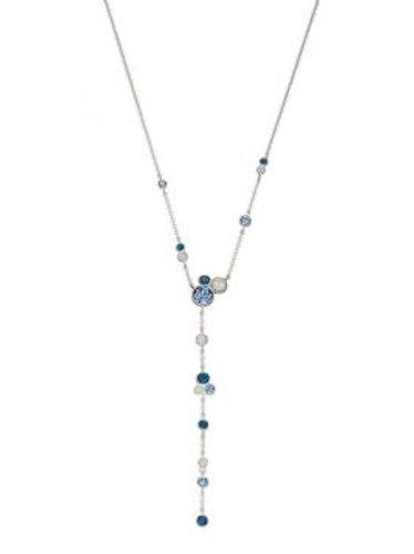 Silver & Blue Swarovski Lariat Necklace