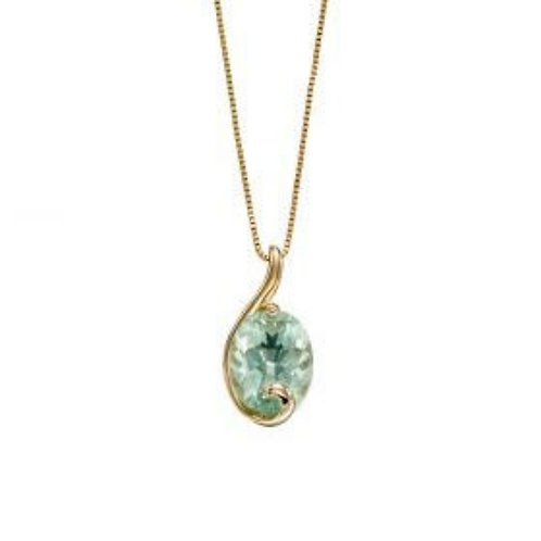 9ct Yellow Gold Green Flourite Necklace