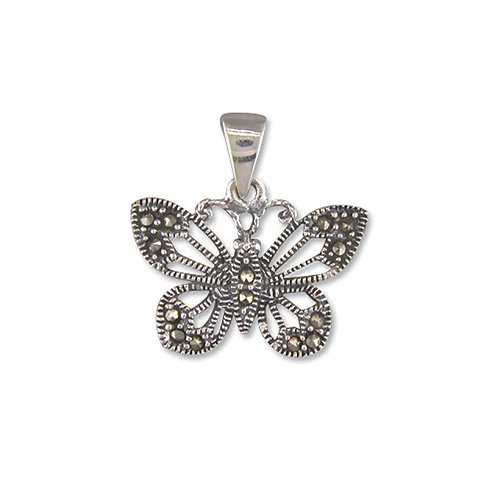 Marcasite Butterfly Pendant Necklace