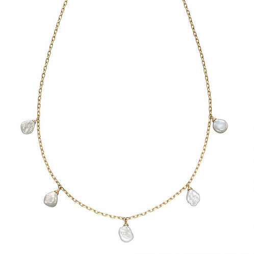 9ct Yellow Gold Keshi Pearl Chain Necklace