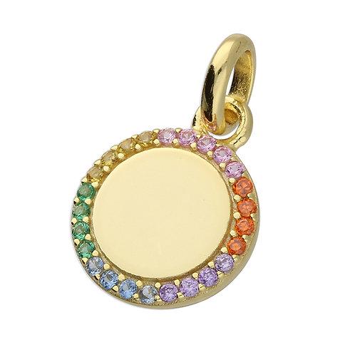 Rainbow small disc pendant