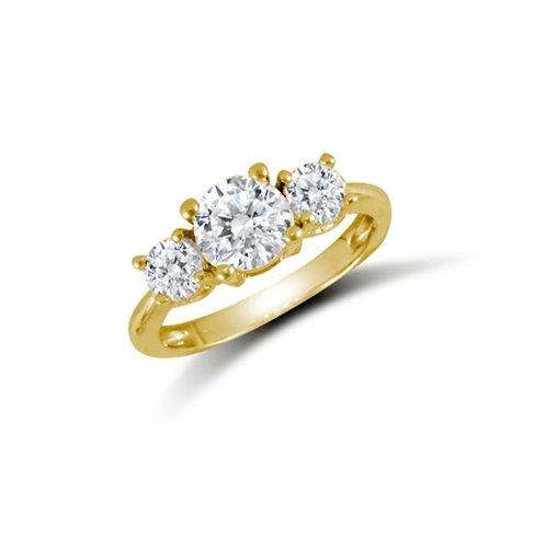 9ct Yellow Gold Trilogy CZ Ring