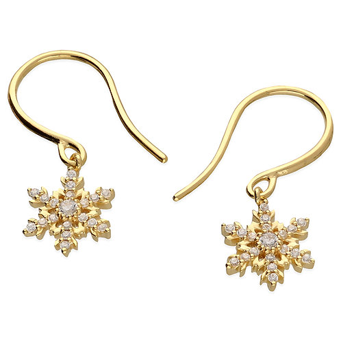 Yellow gold-plated cz  snowflake drop earrings