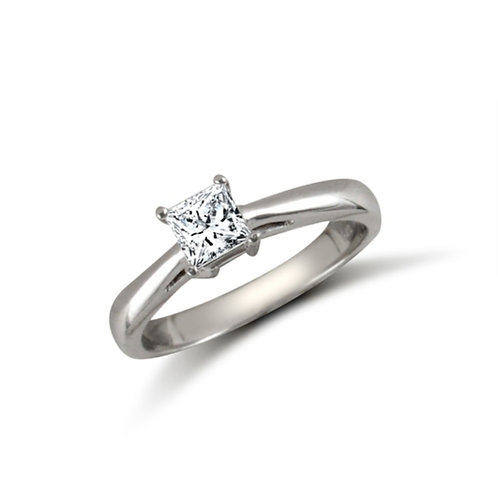 9ct White Gold Princess CZ Solitaire Ring