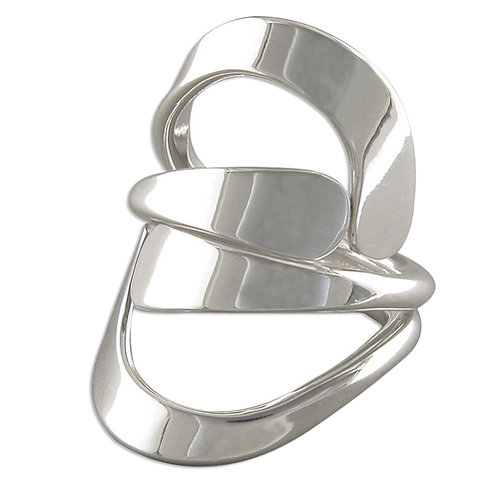 Silver Cradle Crossover Ring