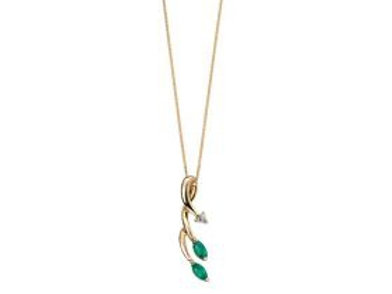 9ct Yellow Gold Emerald & Diamond Necklace