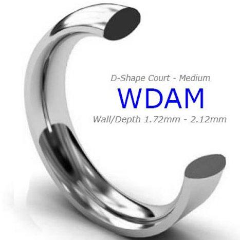 White Gold D Shape Ring