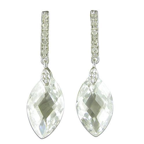 Silver Marquis CZ Drop Earrings