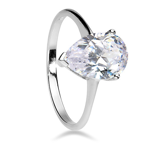 Silver Pear Cut Cubic Zirconia Ring