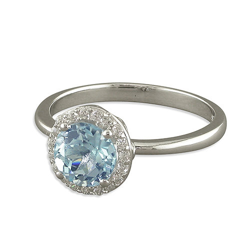 Round Blue Topaz Halo Ring