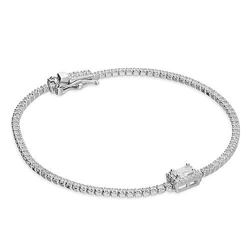 Silver Emerald Cut CZ Cubic Zirconia Halo Bracelet