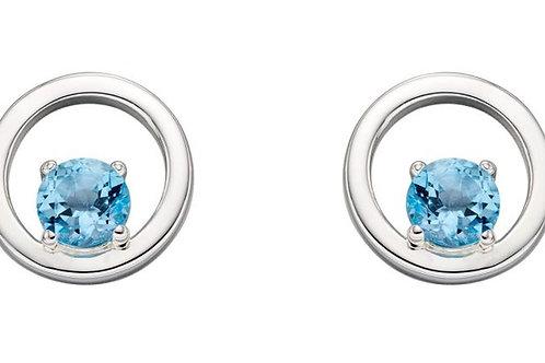 Blue Topaz Circle Earrings