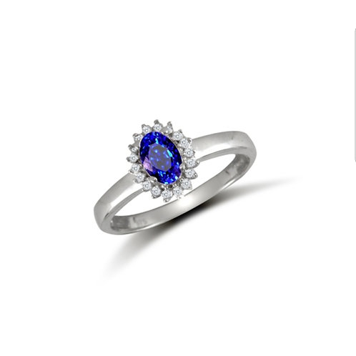 9ct White Gold Oval Blue CZ Cluster Ring