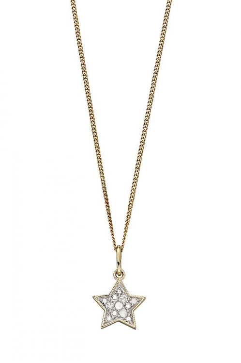 9ct Yellow Gold Diamond Star Necklace