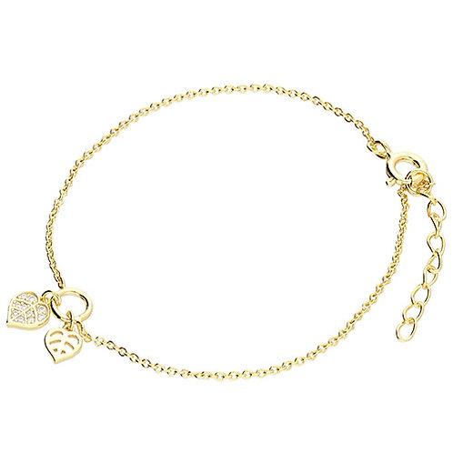 9ct Gold Plated Silver Leaf Charm Bracelet