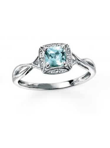 9ct White Gold Aquamarine & Diamond Cluster Ring