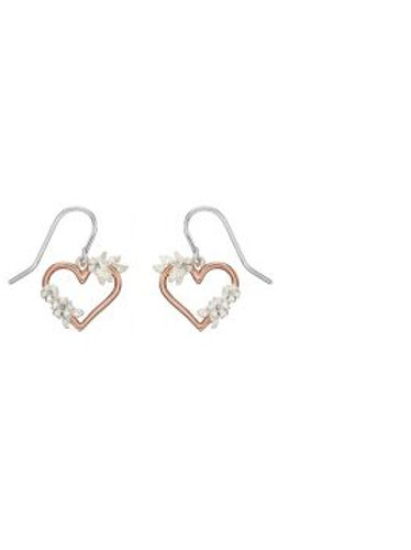 Rose Gold Heart Floral Earrings