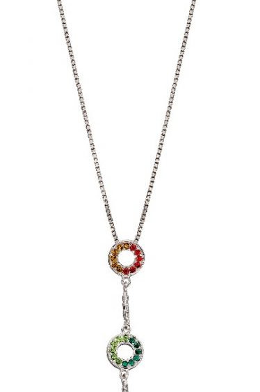 Sterling Silver Rainbow cz necklace