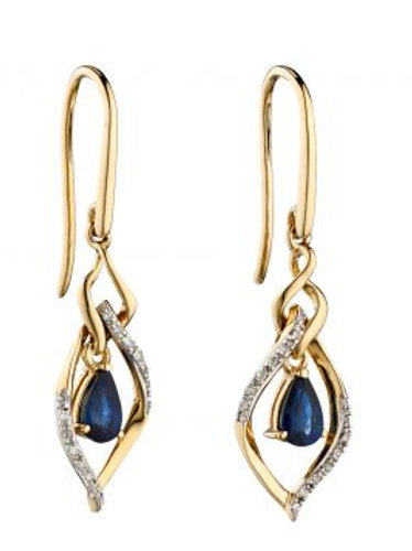 9ct Yellow Gold Sapphire & Diamond Drop Earrings