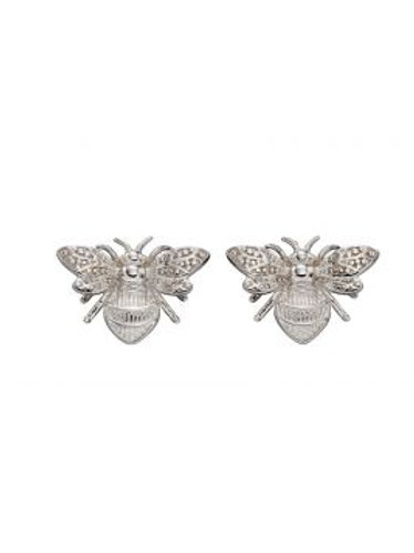 9ct White Gold Bee Stud Earrings